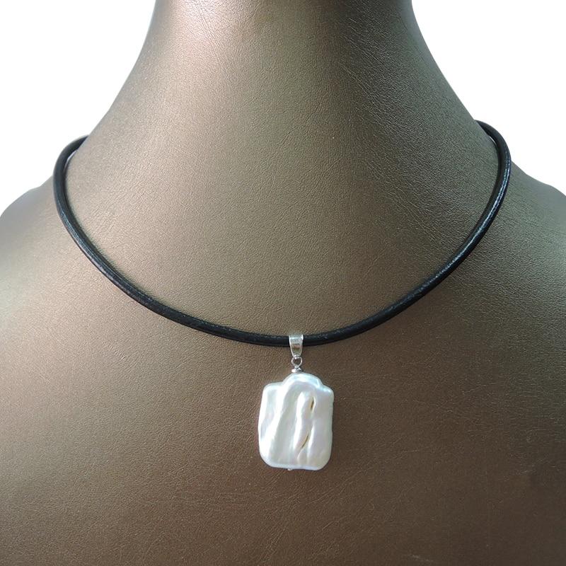 Collar con colgante de perla de agua fresca natural 100%, cadena de cuero REAL, Perla alrededor de 17x21mm, colgante de Perla Barroca rectangular,