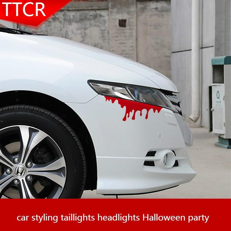Reflectante rojo marrón genial sangre en coche estilo de coche luces traseras luces de fiesta de Halloween decorativo Pegatinas de coche