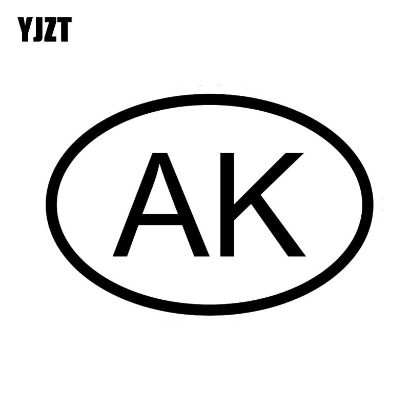 YJZT 13,6 CM * 9,2 CM pegatina de vinilo para coche AK ALASKA código de país ovalado negro plata C10-01260