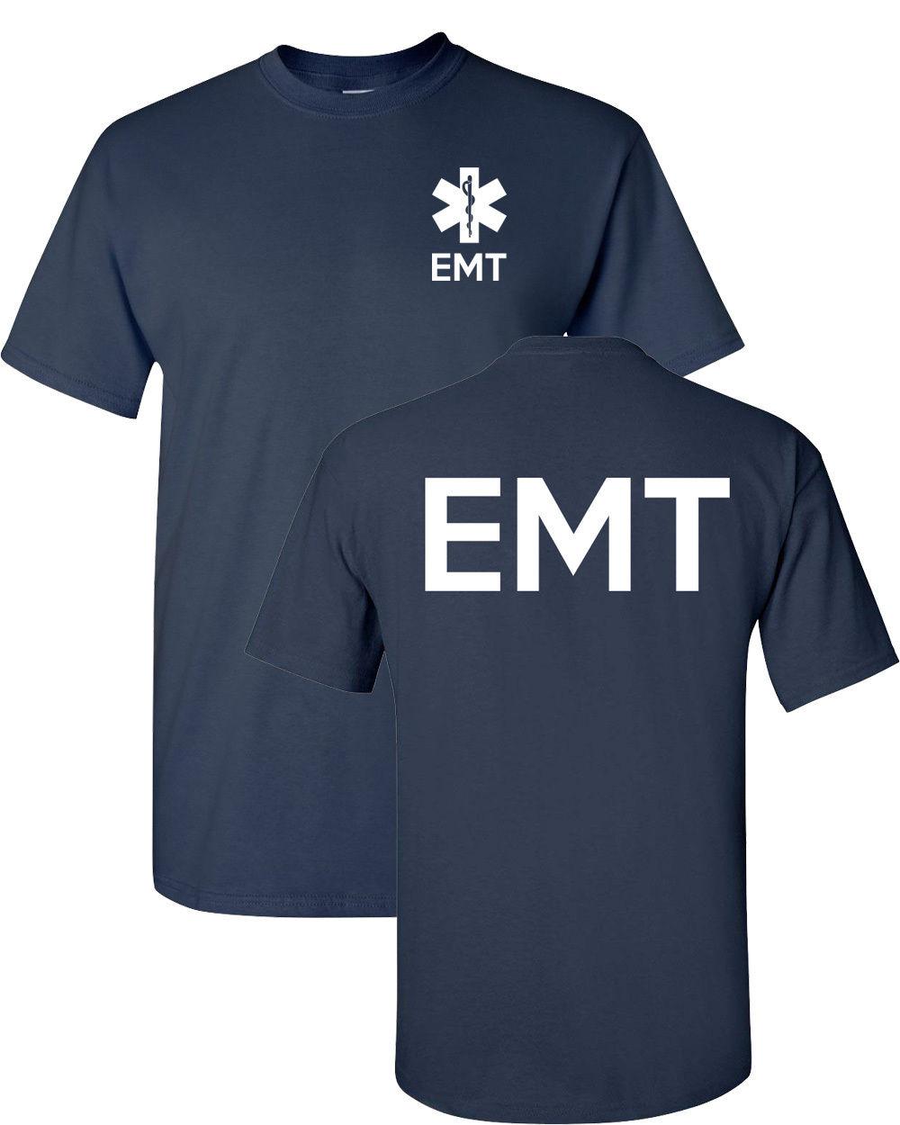 Moda s Camiseta de algodón de manga corta Emt paramédico de emergencia servicios médicos parte delantera y trasera Mes camisetas de alta calidad