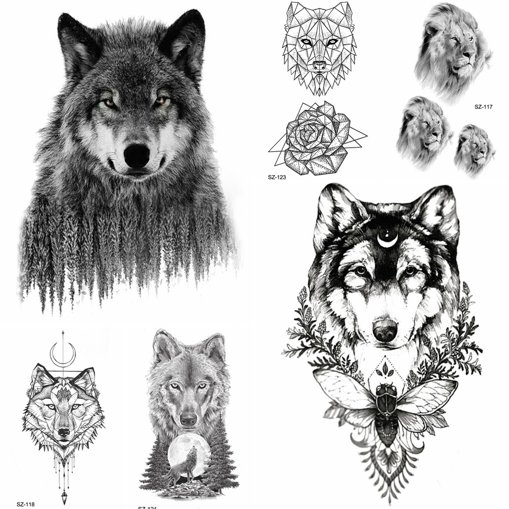 YURAN 3D bosque Lobo tatuaje temporal hombres pegatinas geométricas tatuajes a prueba de agua negro Moth Moon mujeres pasta para tatuaje falso