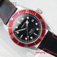 Corgeut 41mm Red Bezel Sapphire Glass Black Dial Silver color hands Automatic movement Mens Watch 1670