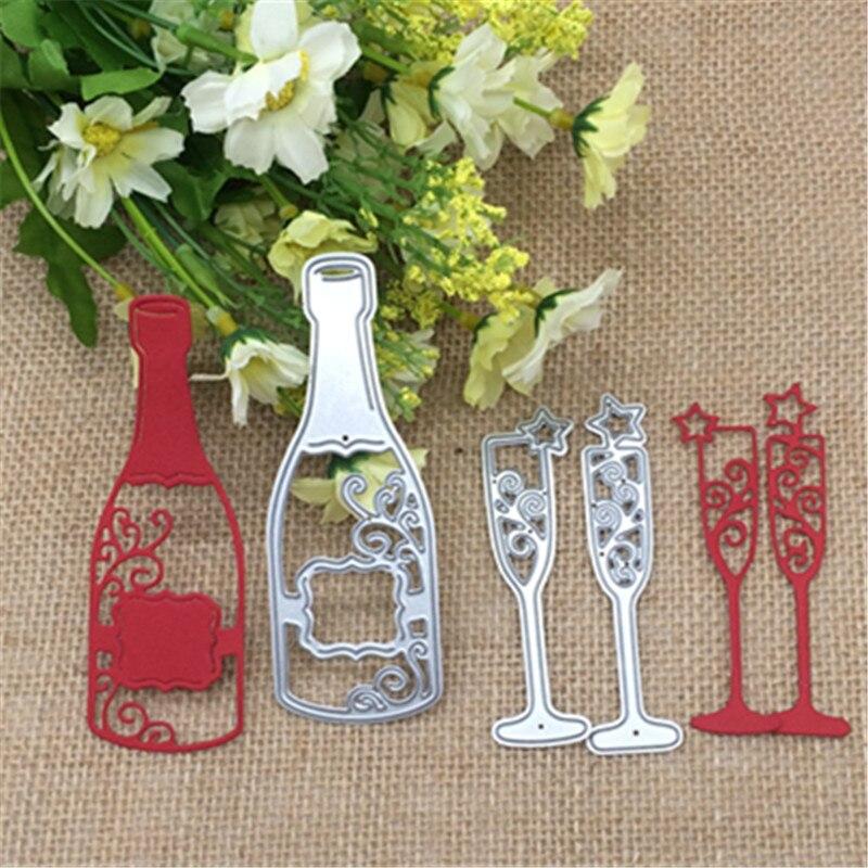 3x металлический Трафаретный Скрапбукинг, чашка для бутылки вина, фотоальбом, карта, бумага, тиснение, ремесло, сделай сам