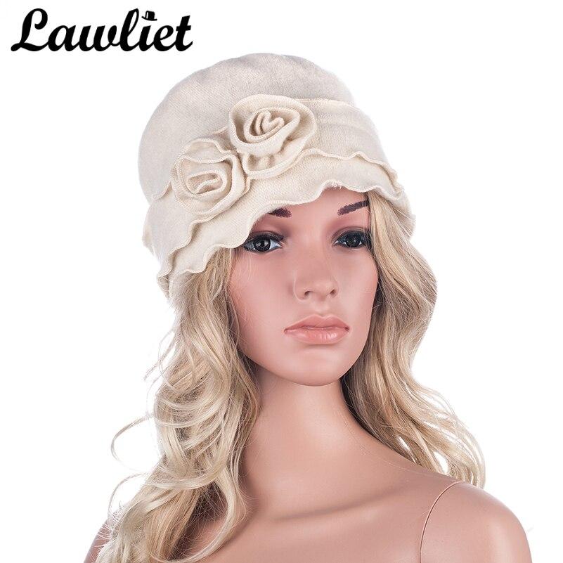 Boina de invierno para mujer de Lawliet 1920s estilo GATSBY, boina de lana lisa con dos flores para mujer, sombrero de ganchillo tipo cubo A285