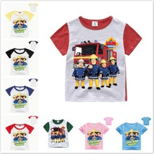 New Baby Boys Clothes Children Cartoon Fireman Sam T Shirts Girls Short Sleeved T-Shirt Kids Summer Tops Tee Costumes Clothes