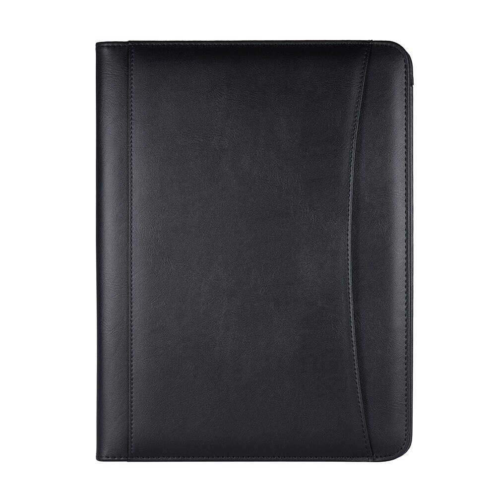 A4 PU carpeta bolso portafolio carpeta portafolios estuche de documentos de cuero multifuncional organizador de negocios con titular de la tarjeta de visita