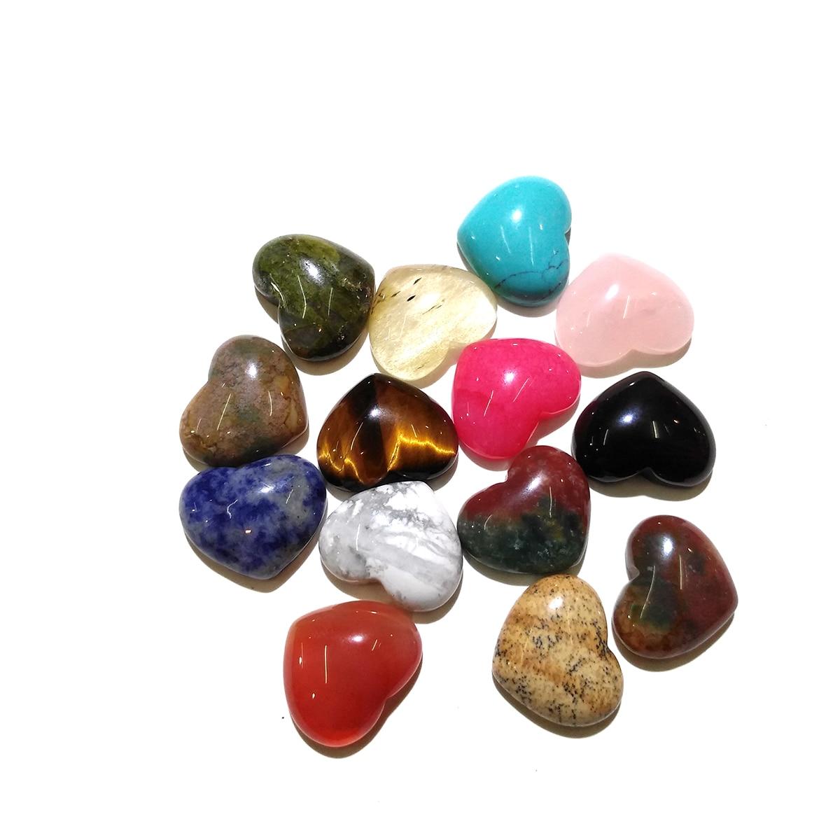 10x10 15x18 25x25mm forma do coração nenhum furo para fazer a jóia 10pcsrose pedra natural do olho do tigre de quartzo pedras misturadas cor cabochão