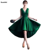 suosikki sexy deep v neck short front long back beading evening dress bride banquet formal party gowns vestidos