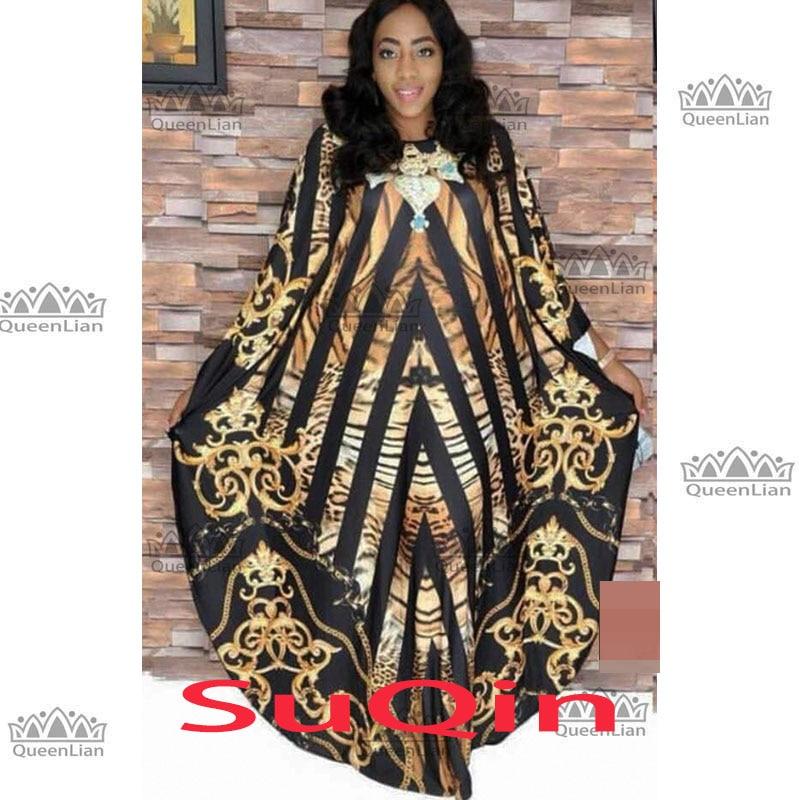 2019 vestidos africanos del cuello de barco para las mujeres que imprimen Dashiki vestido Casual túnica Femme ropa de la India de la talla grande BRW (XF04)