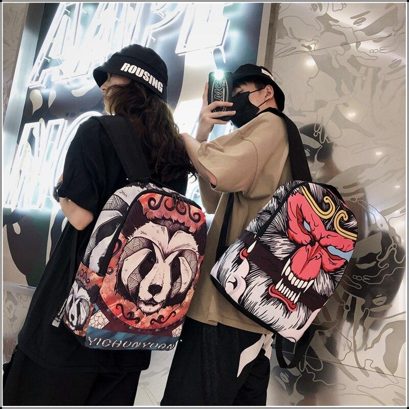 Новые модные рюкзаки в стиле хип-хоп с мультяшным принтом, унисекс, Оксфорд, водонепроницаемые дорожные спортивные сумки, панда, обезьяна, г...