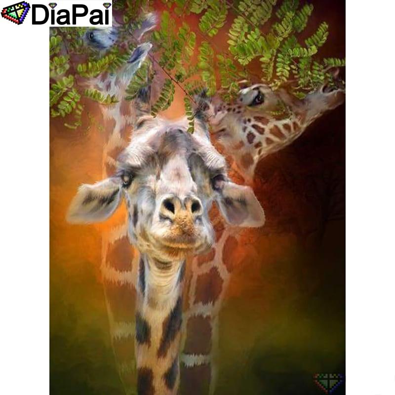 "DIAPAI Diamond Painting 5D DIY 100% Full Square/Round Drill ""Animal giraffe"" Diamond Embroidery Cross Stitch 3D Decor A24224"