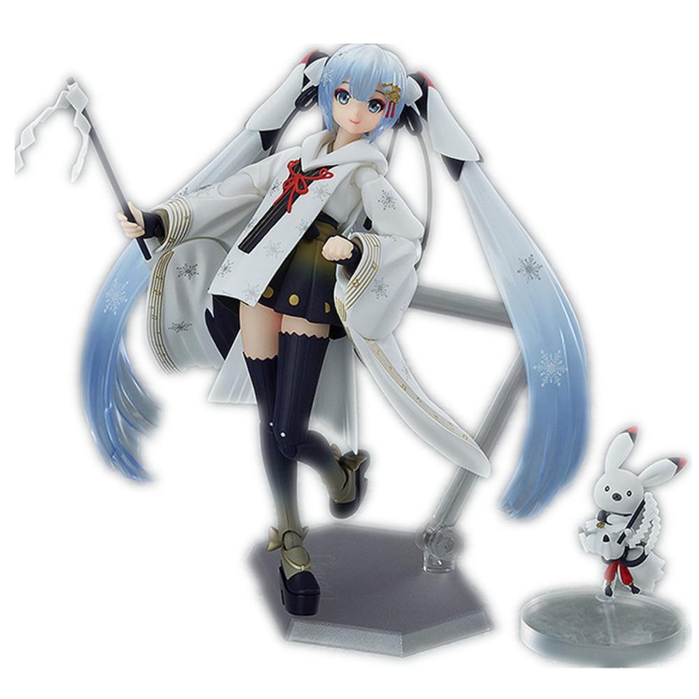 Cute Hatsune Miku Figma EX-045 Snow Miku Crane Priestess Ver. PVC Action Figure Collectible Model Toys Doll