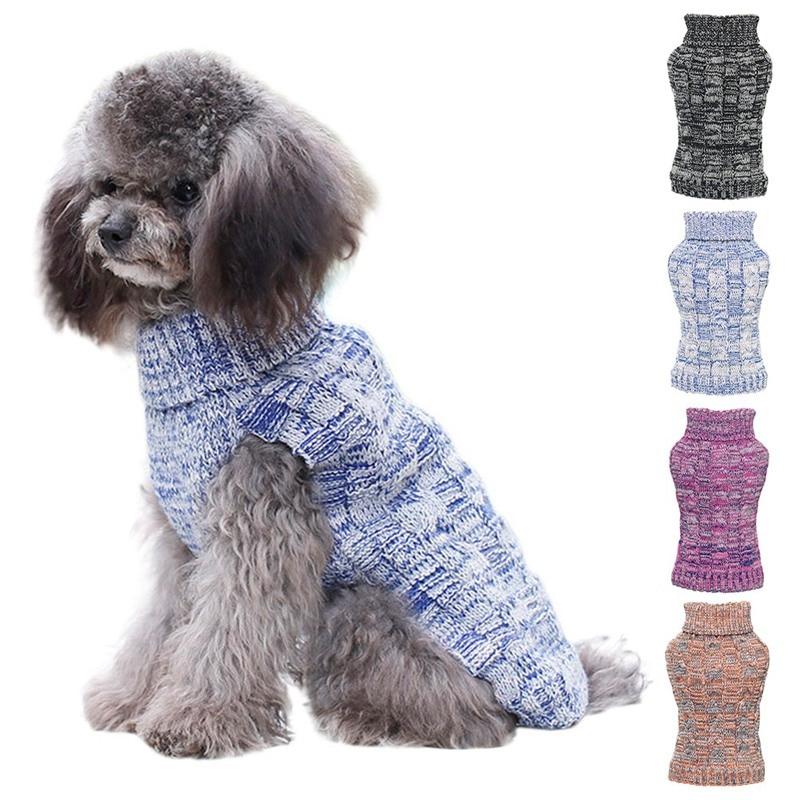 Ropa tejida para perros, Jersey cálido para perros pequeños, suéter de invierno para perros, suéter Gato caliente de cuello alto, suéter de flores de cáñamo, abrigo de cuello alto