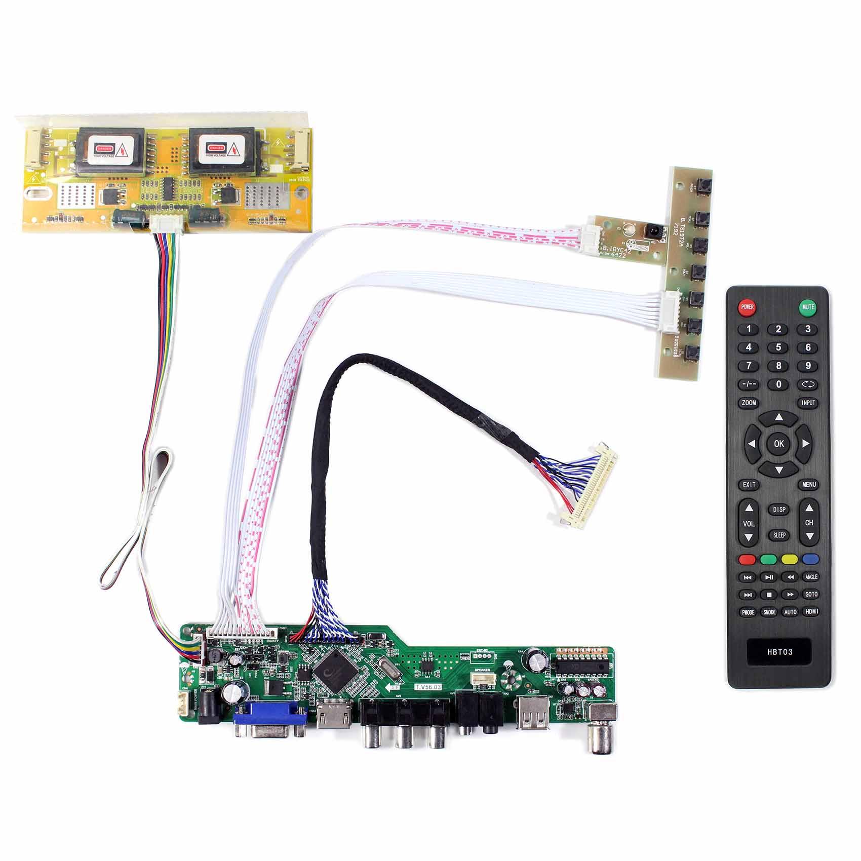 T.V56.03 for 17inch LCD Screen HD MI VGA AV USB RF LCD Controller Board USB Support Video M170EN06 M170EN05