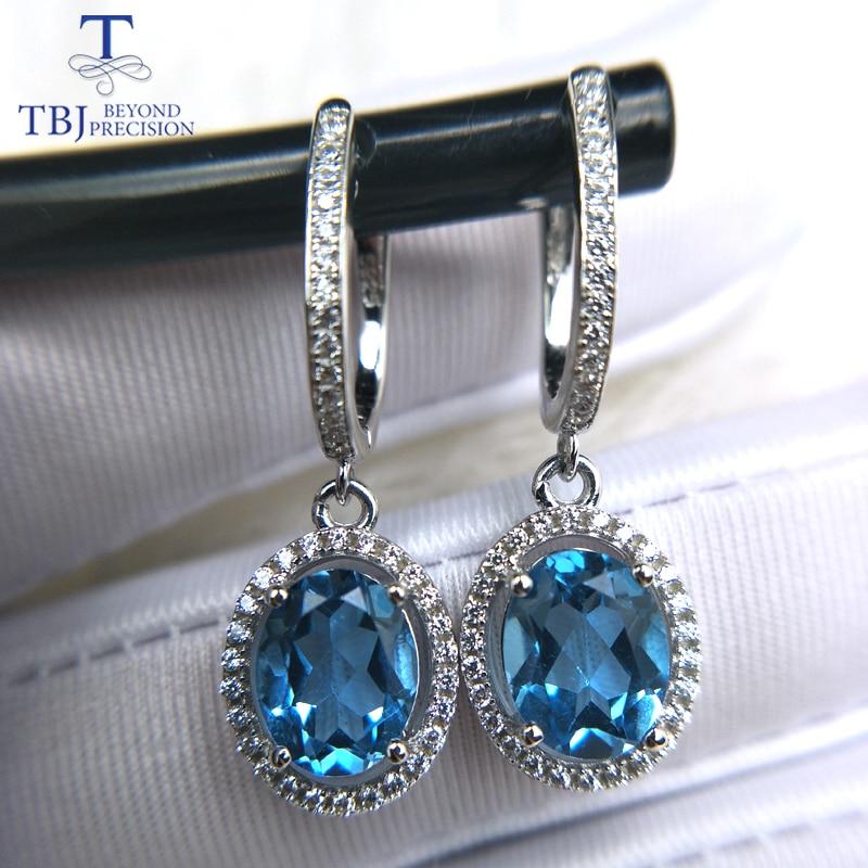 TBJ ، الأزرق توباز المشبك قطرة القرط مع الأحجار الكريمة الطبيعية 925 الاسترليني الفضة الكلاسيكية تصميم غرامة مجوهرات للمرأة هدايا عيد الميلاد