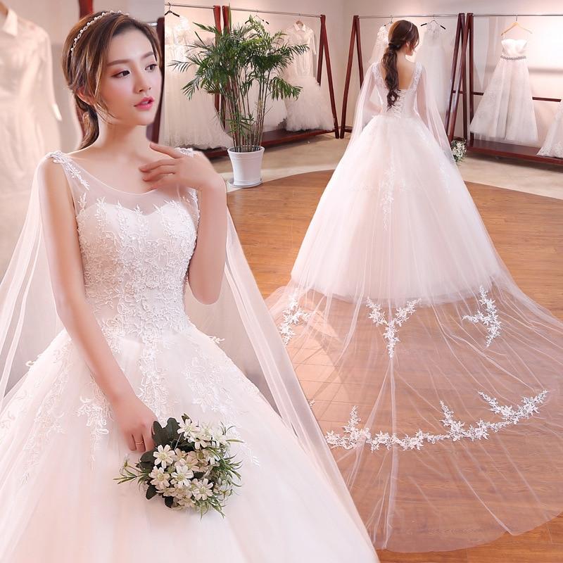 Новый стиль, красивые свадебные платья со съемной шалью и шлейфом, с аппликацией, с круглым вырезом и бисером, Vestidos de Noiva