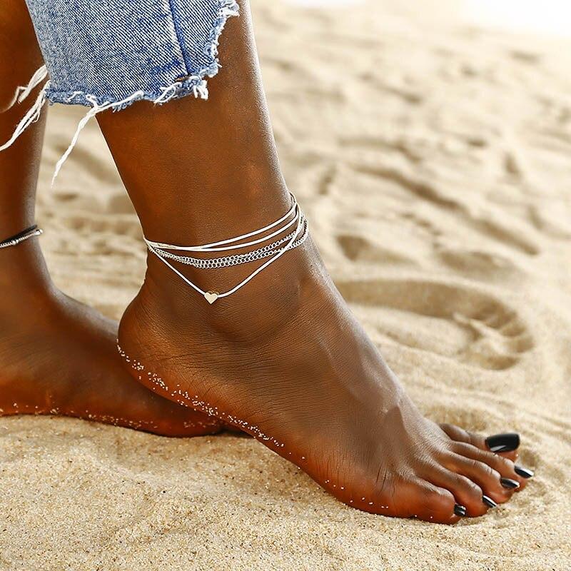 G. YCX pulsera tobillera clásica de plata con múltiples capas, joyería de pies para sandalias de ganchillo descalzo, tobillera con cuerda para piernas, joyería Bohemia para el océano