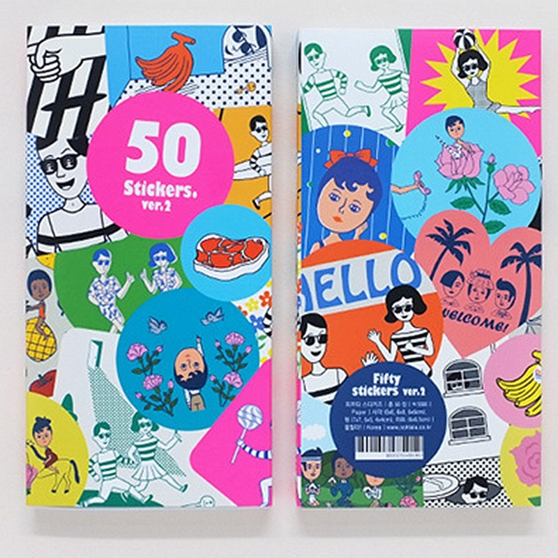 50 sztuk/pudło kreatywny Wacky para naklejki scrapbooking śliczne naklejki bullet journal koreańskie piśmiennicze Planner DIY pegatinas