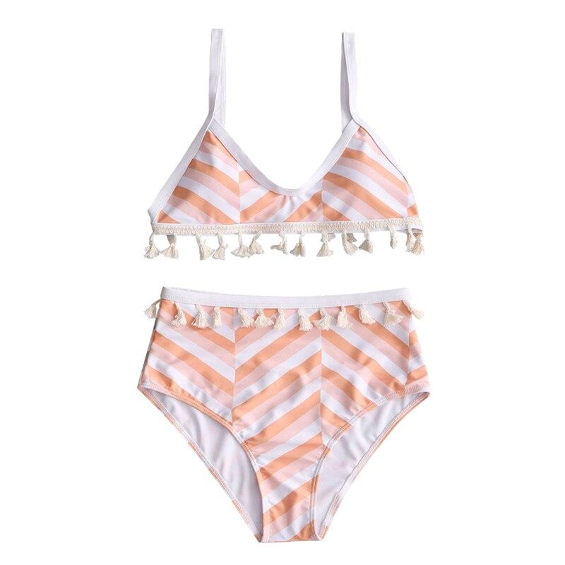 CATTLEYA juego de Bikini a rayas para mujer traje de baño de cintura alta Biquini YKY 223