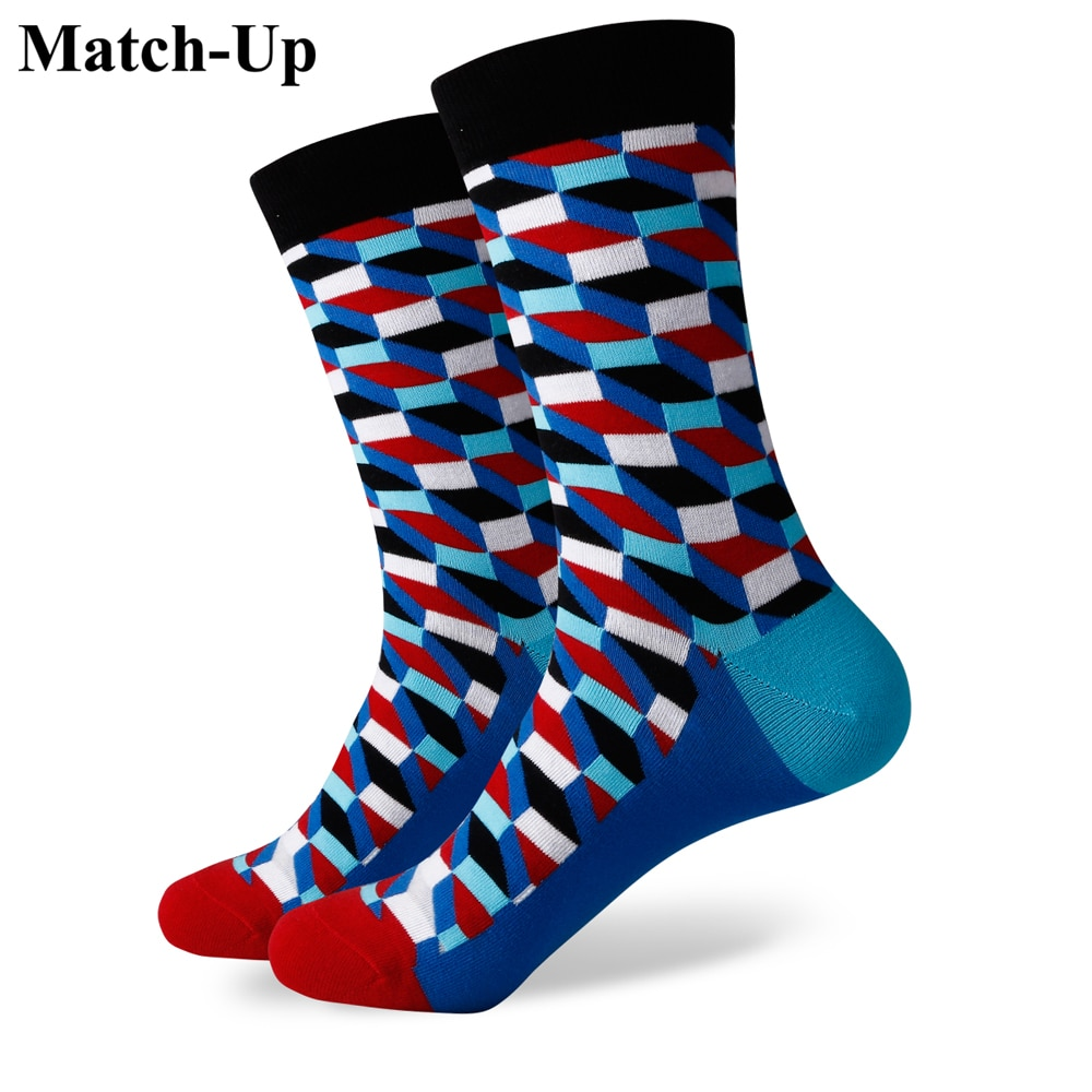 Match-Up New men colorful combed cotton socks FILLED OPTIC SOCK сабвуфер match mercedes up w8mb s4