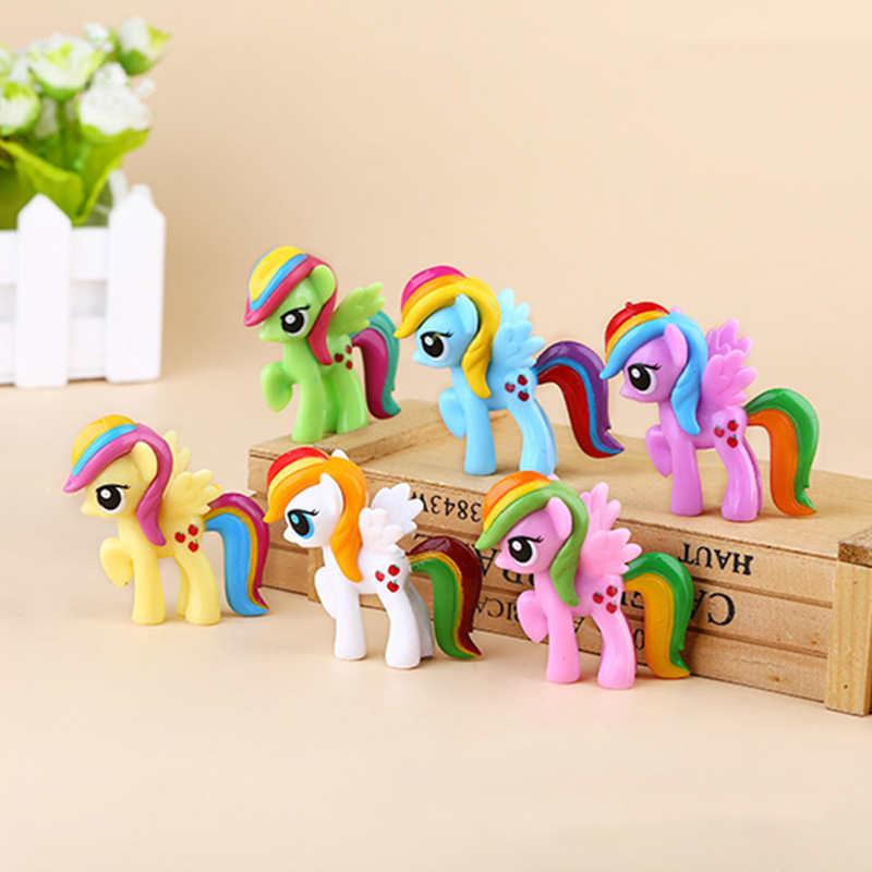 Juego de muñecas de vinilo unicornio caballo Pony figuras de acción de dibujos animados Anime juguetes súper bonitos para niños coche de casa decoración juego de juguete para regalo