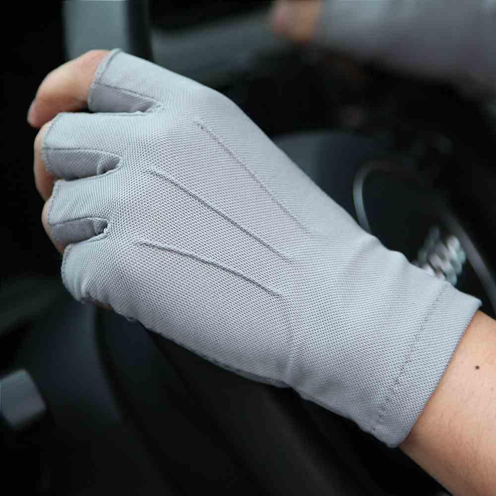 Тонкие мужские перчатки, летние перчатки от солнца, дышащие нескользящие перчатки для вождения, полупальцевые перчатки, для мужчин, с неско...