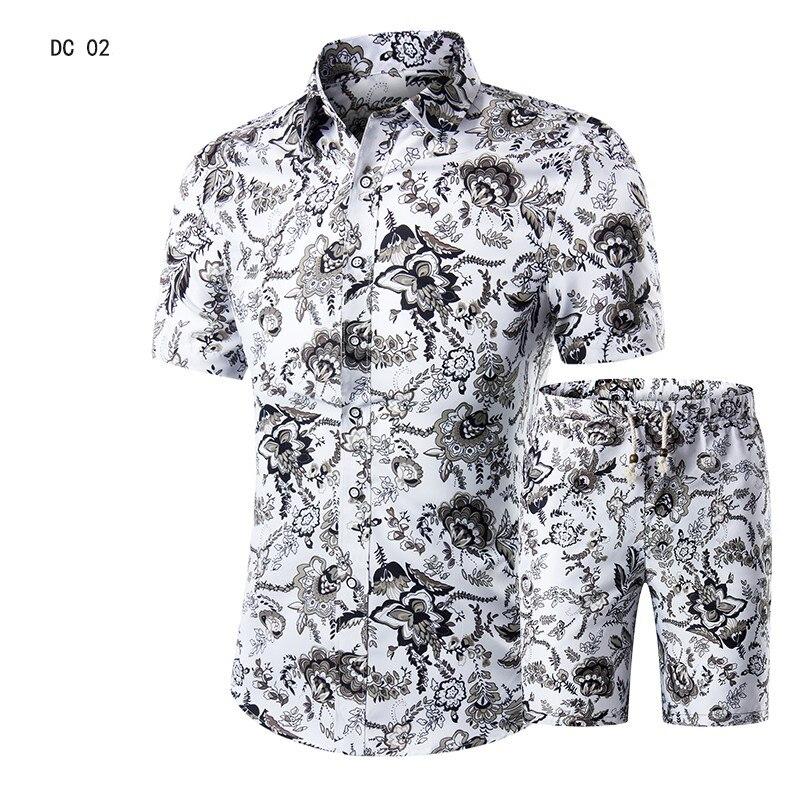 طقم شاطئ هاواي للرجال ، بدلة صيفية غير رسمية ذات علامة تجارية ، ياقة مقلوبة ، قمصان وسراويل قصيرة ، مجموعة عصرية ، 2019