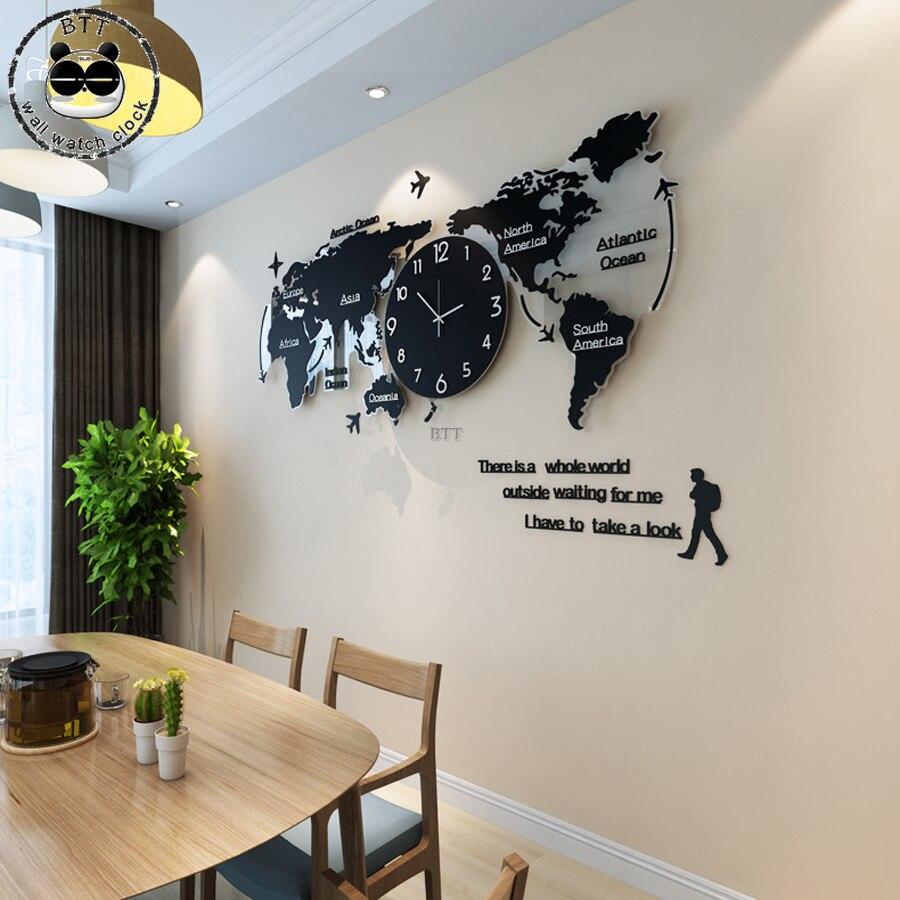 Reloj de pared silencioso de mapa del mundo grande diseño moderno pegatinas acrílicas 3D reloj colgante brillan en la oscuridad relojes reloj de pared reloj