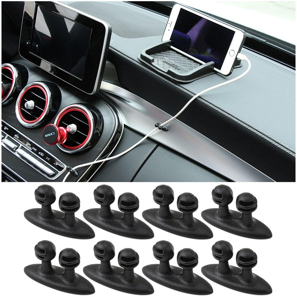 8Pcs Car Cable Clip 3D Car Sticker For Renault Megane 2 3 Duster Logan Clio Captur Laguna 2 1 Sandero Fluence Scenic Trafic