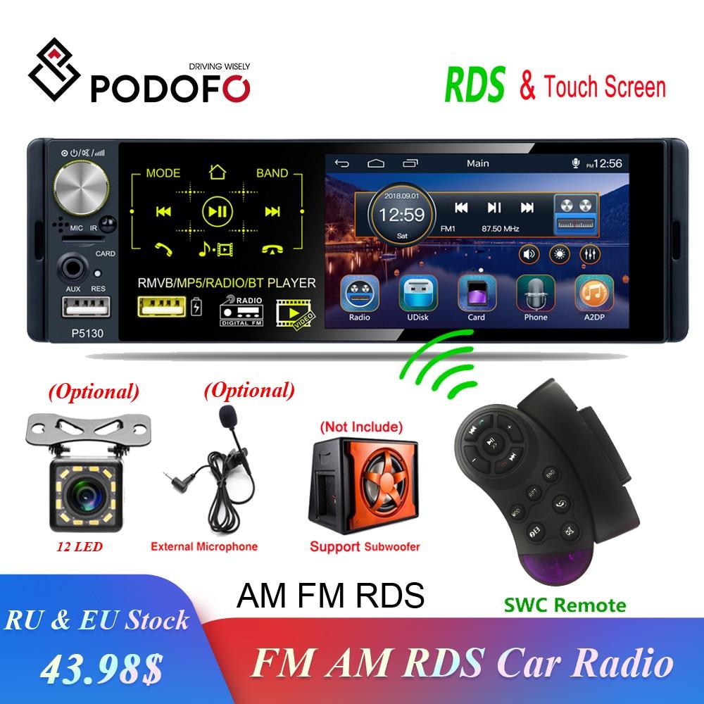 "Podofo 1 din Car Radio RDS Media MP5 Player Bluetooth 1Din Autoradio 4"" HD Touch Screen FM Receiver USB Audio Stereo Rear Camera"