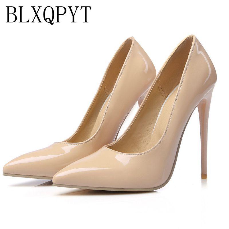 Gran tamaño venta 34-47 albaricoque nueva moda Sexy puntiagudos mujeres bombas plataforma super tacones señoras zapatos de fiesta de boda 8-10