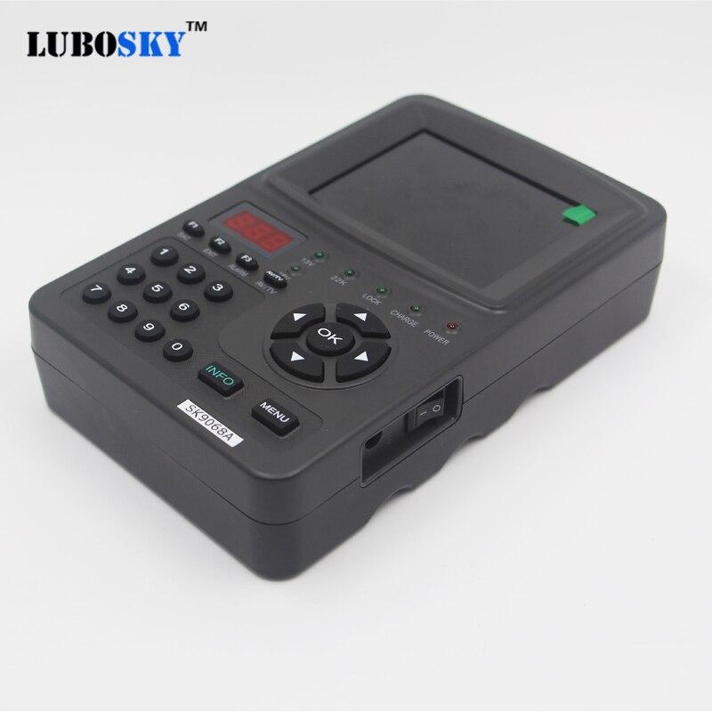 Lubosky sk9068a digital satellite meter sat finder DVB-S fta c & ku banda MPEG-2 localizador de sinal satélite epg av 3.5 polegada display lcd