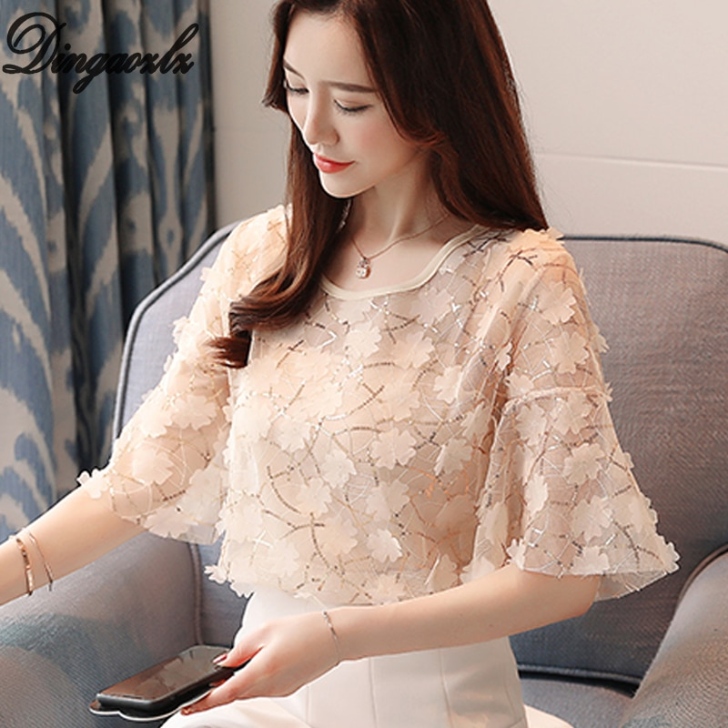 Dingaozlz 2019 Short sleeve Chiffon shirt New fashion Flower Tops For Women Casual Lace blouse blusas mujer