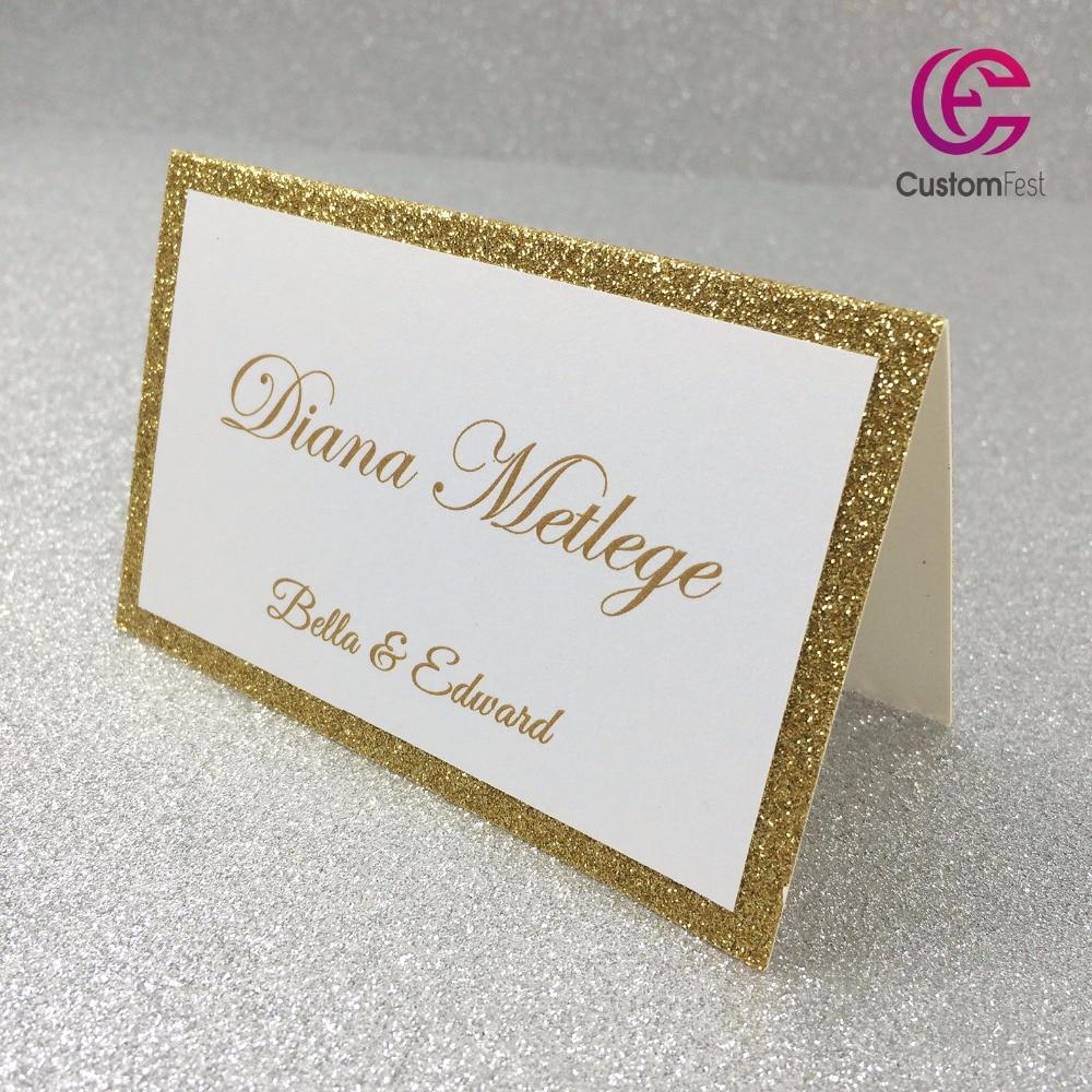 30 pz/lotto Personalizzato carta del Posto della carta di nome per il partito e la cerimonia nuziale Oro scintillio di spessore di carta