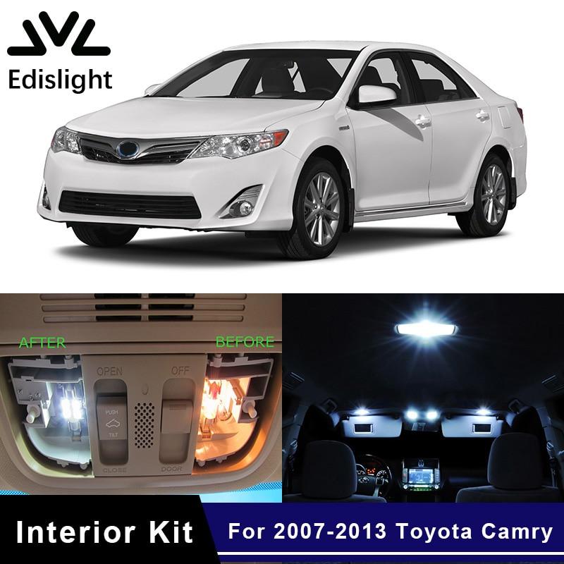 Edislight 10Pcs Weiß Eis Blau Canbus Led-lampen Interior Package Kit Für 2007-2013 Toyota Camry Karte Dome stamm Tür Licht