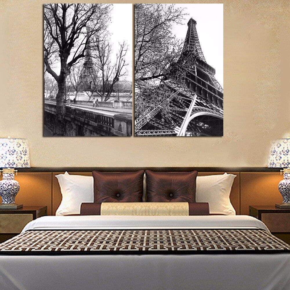 Cuadro de escenario de torre de Eiffle blanco y negro sobre lienzo sin marco, cartel de paisaje con edificios de París, decoración para sala de estar abstracta para el hogar