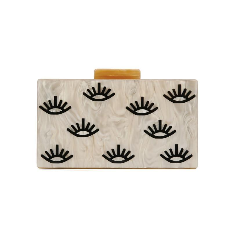 Nude mal olho impressão acrílico caixa de embreagem saco de praia feminina carteira bolsa feminina senhoras bolsas mão designer alta qualidade