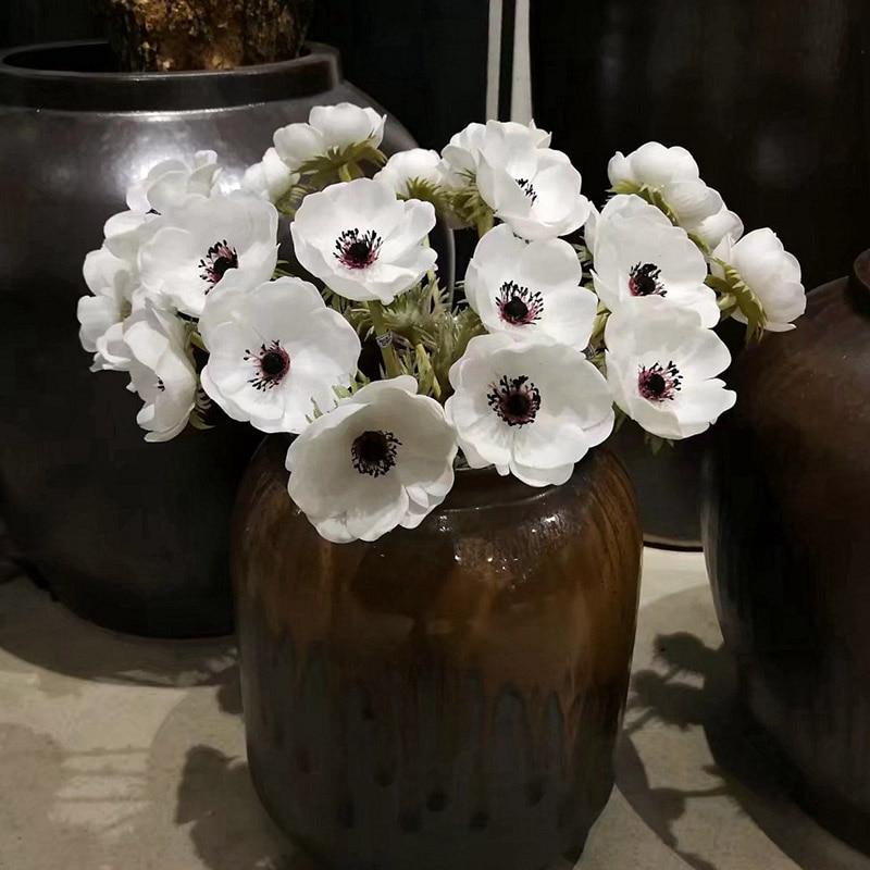 Anemone Artificial PU Flor Rosa Flores Ramo Falso Ouro Persa Crowfoot Arranjo Floral Da Flor Do Casamento Home Decor
