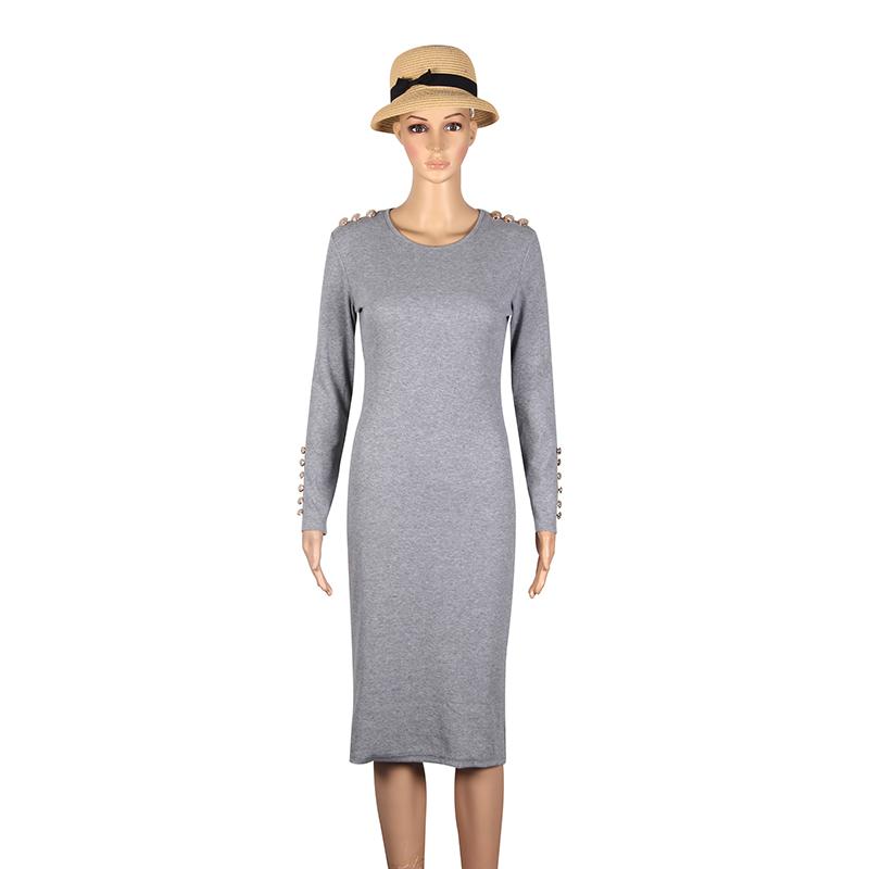 2017 fashion party dress kobiety sexy płaszcza bodycon midi dress stałe z długim rękawem z dzianiny pakiet hip dress vestidos s-xl lj7338e 12