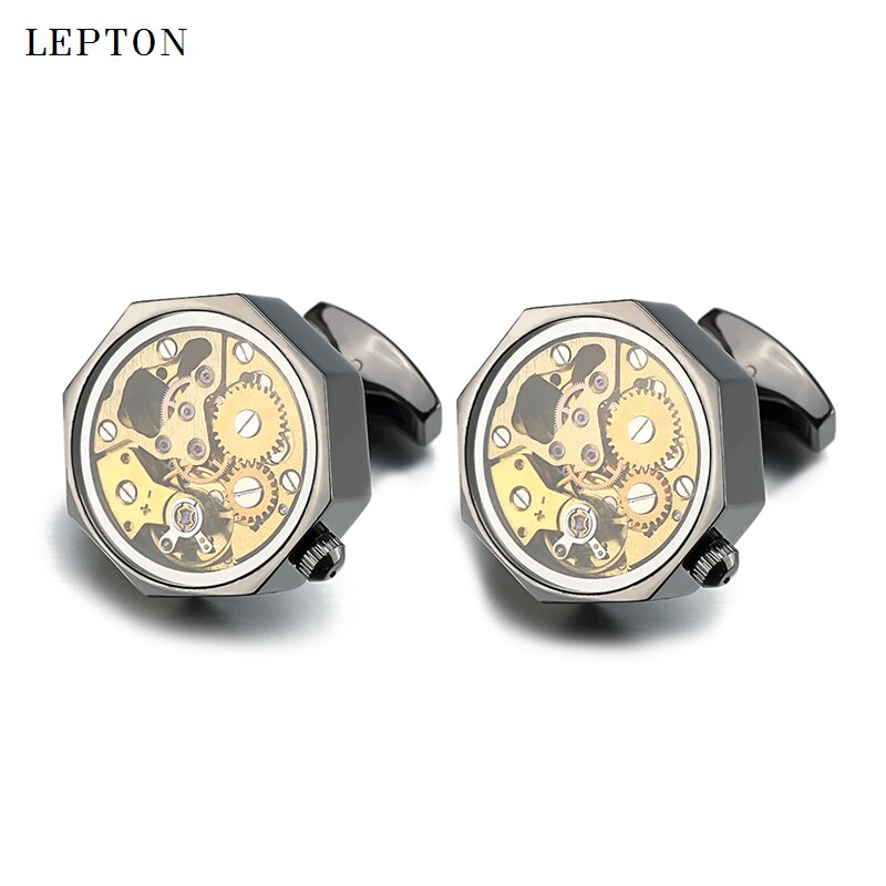 Gemelos con mecanismo de movimiento de reloj de oro de lujo con llave baja con cristal Lepton Acero inoxidable Steampunk Gear Watch gemelos con mecanismo para hombres
