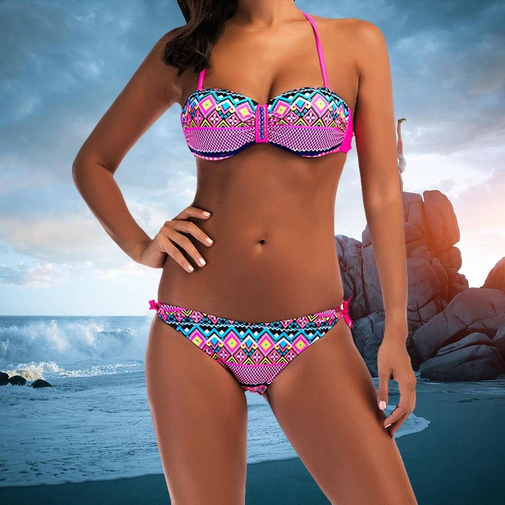 Sexy Brazilian Bikini Set Hängen hals Frauen Gepolsterte Push-Up-Bh Bikini Set Badeanzug Badeanzug Bademode Bademode
