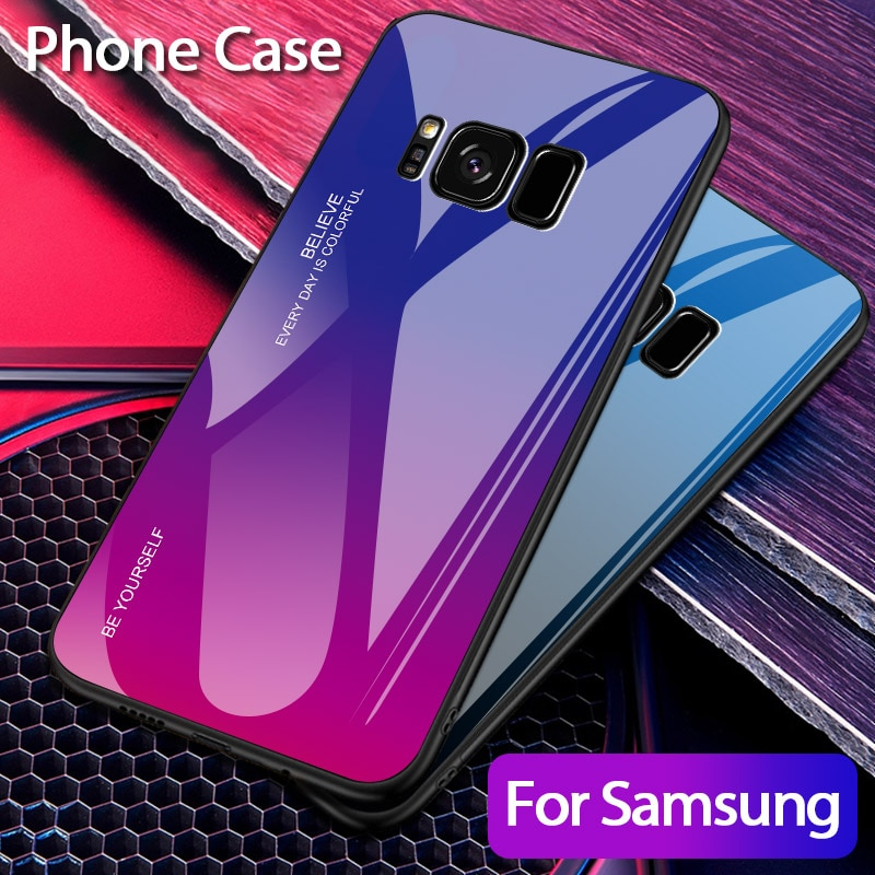 Gradiente funda de vidrio templado para teléfono para Samsung Galaxy S8 Plus Samsun S8Plus 8 Plus G950F G950FD G955F G955FD Coque cubierta