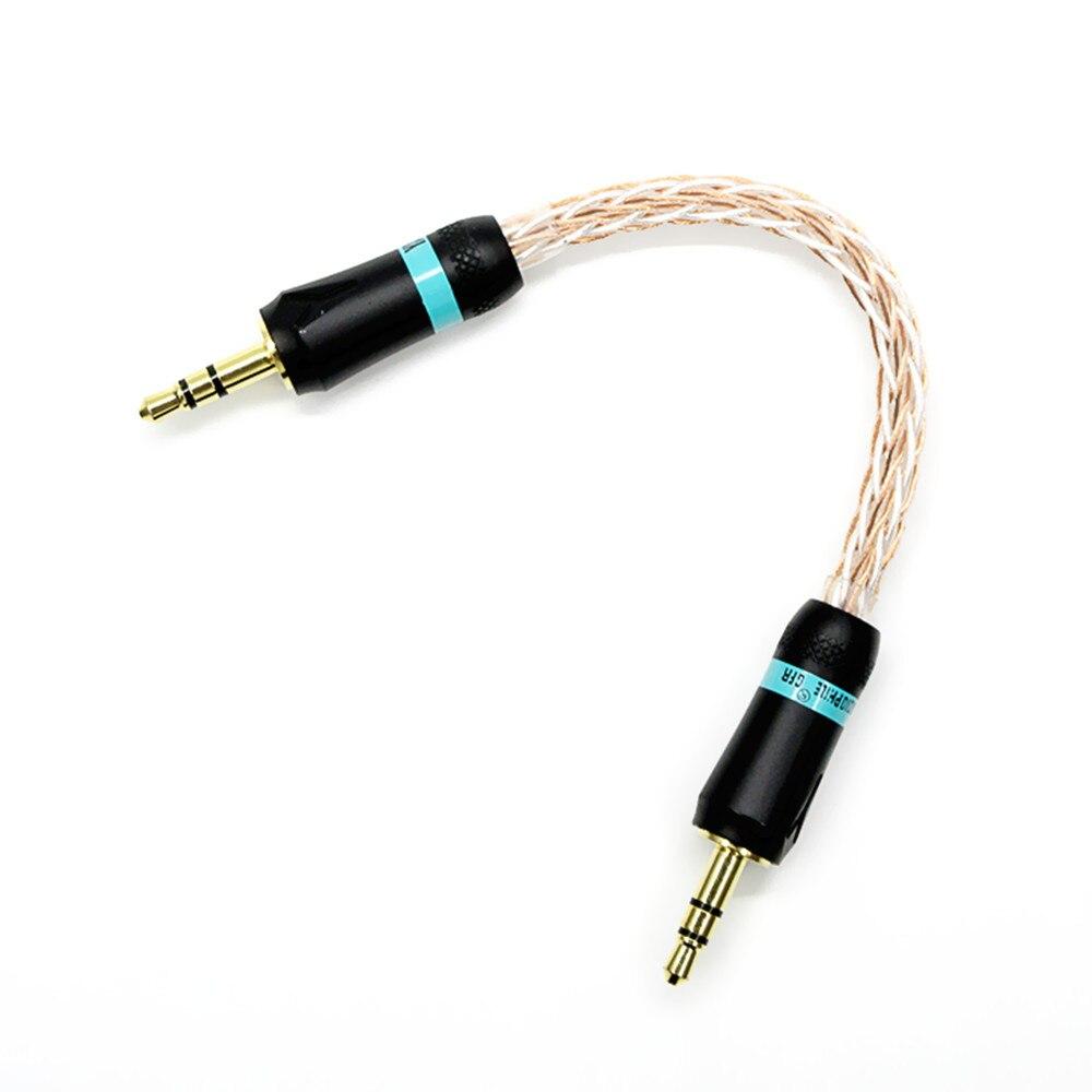 100% nuevo 6CM 3,5mm macho a 3,5mm macho Cable de audio estéreo trenzado chapado en oro para amplificador Walnut F1 V2 V2S/Zishan Z1 Z2 MP3