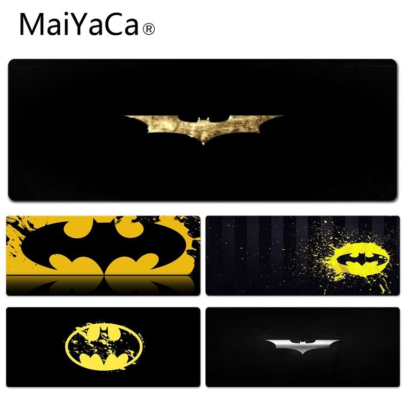 MaiYaCa New Design Batman Symbo Beautiful Anime Lockedge Mouse Mat Size for 30x90cm 40x90cm Rubber Rectangle Mousemats