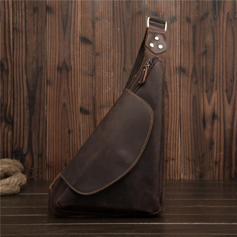 Bolsa de pecho Crazy Horse de cuero genuino para hombre, bolsos cruzados, paquete de diseño triangular, bolsas de mensajero para 2081