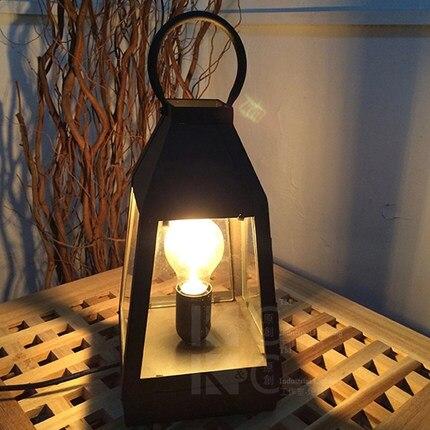 loft vintage iron glass lantern desk lamp, industrial retro Coffee hall wall mount lamp. edison  art decoration lighting fixture