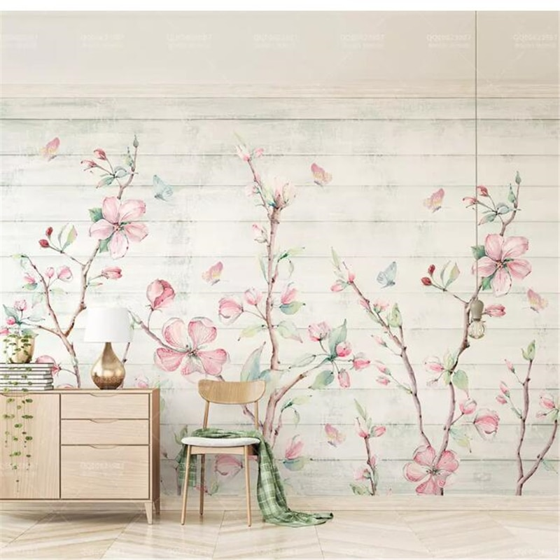 Wellyu papeles de pared casa decoración de acuarela de grano de madera mariposa Fondo de Televisión Mural de la pared de papel