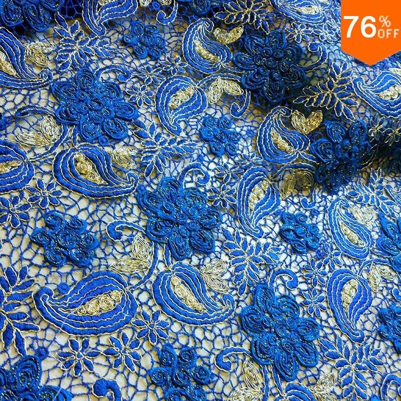 Tela de encaje de lujo complejo gasa de encaje de alta calidad tela 3D hoja de coser azul Italia Venta de cordones de algodón hilo de tul bordado