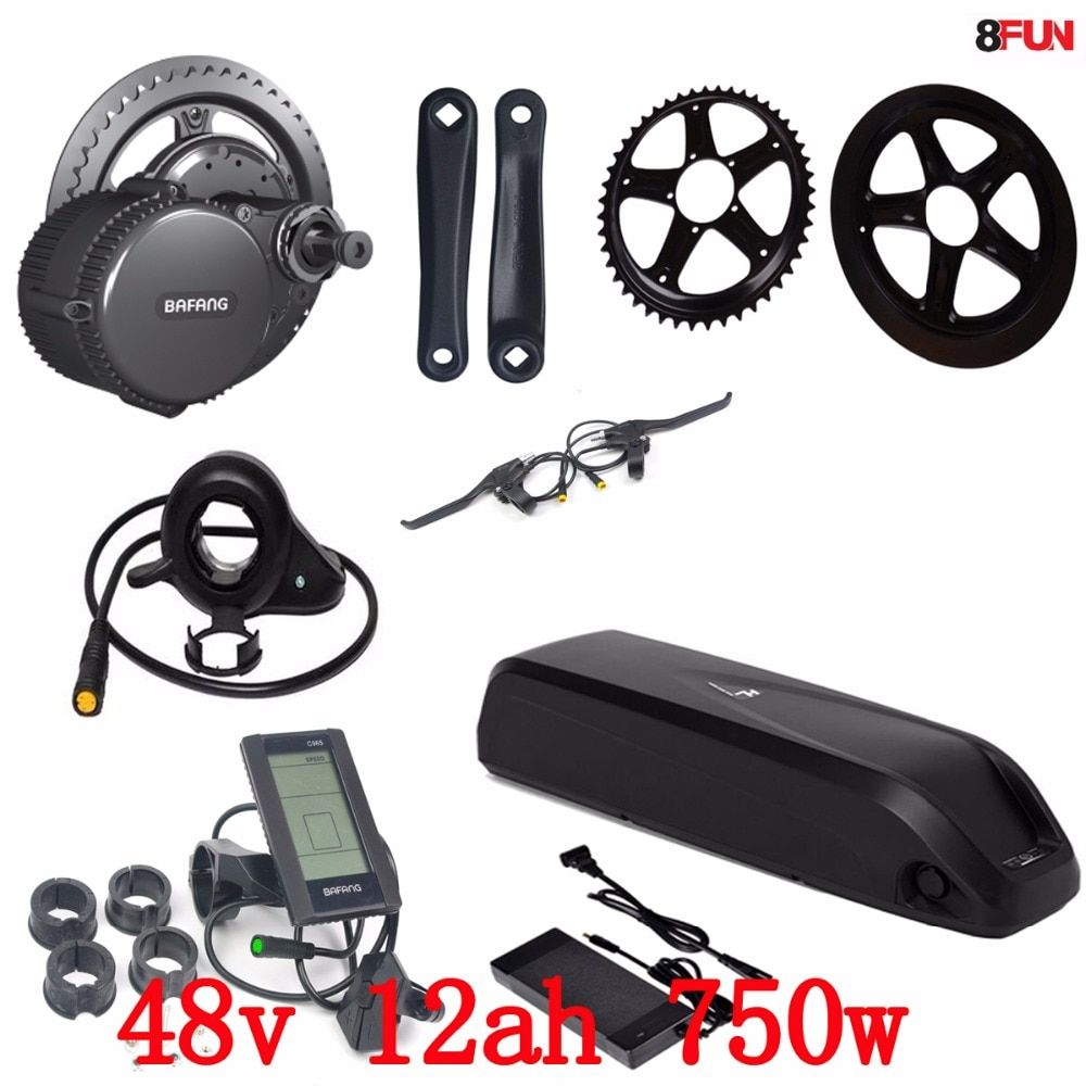 48 v 750 w bbs02b bafang mid drive motor elétrico kit + 48 v 12ah 750 w bateria 48 v 11.6ah uso panasonic bicicleta elétrica bateria