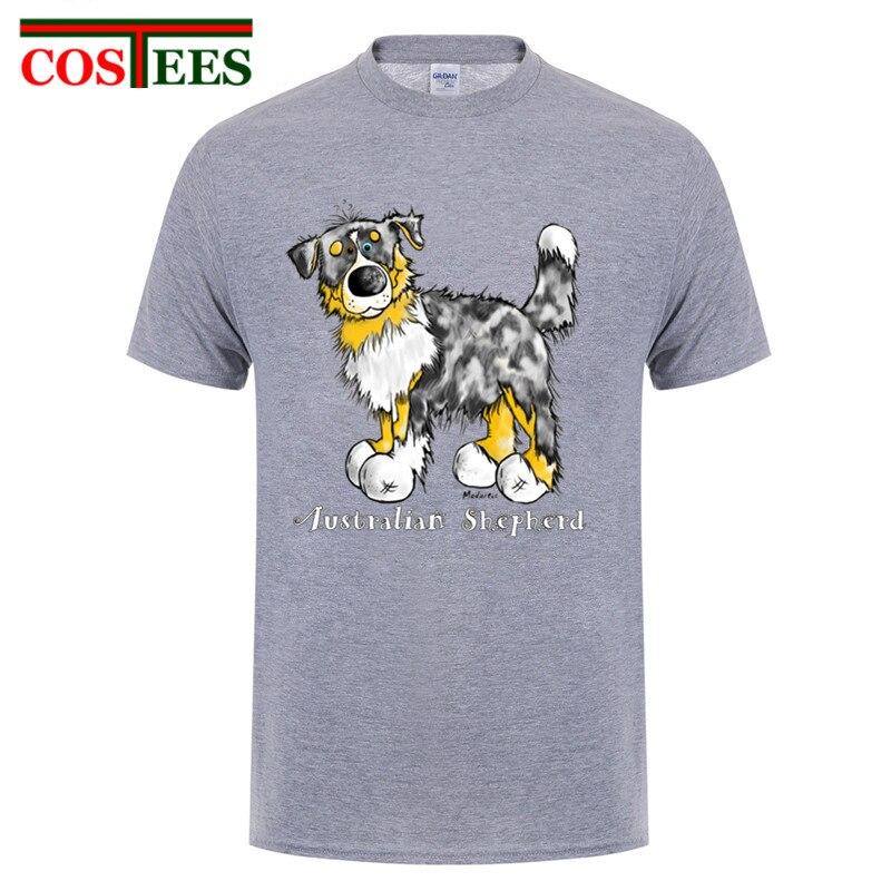 Kawaii Australian Shepherd Tops Tees Hund Gedruckt Männer T Shirts Schöne Trippy Hund T-Shirt Nette Sommer stil Neue Männer Baumwolle t-shirts